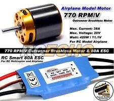 RC Model 770 KV Outrunner Brushless Motor & R/C 80A ESC Speed Controller CA043