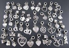 40X Mixed Lots Tibetan Silver Love Heart Charms Beads Fit European Bracelet DIY