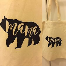 Mama Baby Bear Reusable Tote Bags Cotton Black Gold Silver Ombre Blue Set of 2