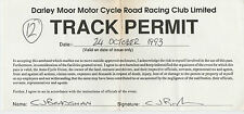 DARLEY MOOR MOTOR CYCLE ROAD RACING CLUB TRACK PERMIT PHOTOGRAPHER PASS OCT 1993