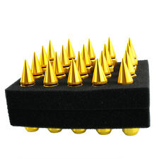 Hot 20PCS Spiked 24K Gold Extended Tuner Lug Nuts For Car Wheel Rims 90MM