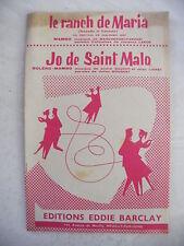 Partition Le Ranch de Maria San Remo 1957 Jo de Saint Malo Dauchy Lioret
