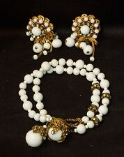 Signed Miriam Haskell Vintage Milk Glass Double Strand Bracelet & Clip Earrings