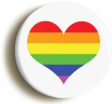 RAINBOW HEART BADGE BUTTON PIN (Size is 1inch/25mm diameter) LGBT GAY PRIDE