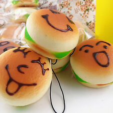 Jumbo Squishy Expression Hamburger Phone Straps Soft Face Bread Bun CharmsWB