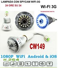 MICROSPIA LAMPADINA SPIA WIFI Spy Camera Spia HD MOTION DETECTION + MICROSD 32GB