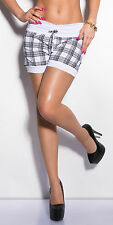 SEXY Hose Hot Pants  kurze Hose Shorts Bermudas Karo kariert Weiß 34 36 38