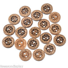 50PCs 15mm Coconut Shell Two Holes Buttons Round Coffee Flower DIY Crafts