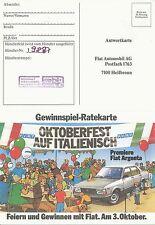 Fiat Argenta Premiere Gewinnspiel 1981 Prospekt Auto PKWs Autoprospekt Broschüre