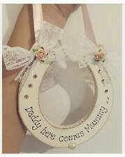Handmade Wooden Daddy here comes Mummy Horseshoe Gift Sign Any colour Ribbon