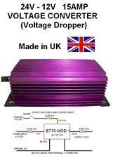 24V to 12V VOLTAGE CONVERTER / DROPPER 15AMP 180W DC-DC,24v-12v, Made in UK