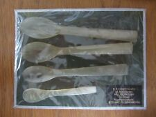 VINTAGE 4 IRISH COW HORN SPOONS - STILL in original packaging CHRISTMAS PRESENT?