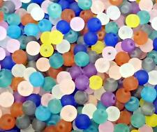 150 x 6MM Multi Colour Round Glass Beads - Frosted Mixed Colours Bright GB66