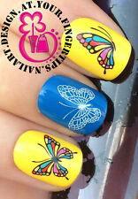 NAIL ART WRAP WATER TRANSFER DECALS STICKERS MANICURE BUTTERFLIES BUTTERFLY #154
