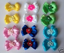 Pack 12 Dog Hair Bows Pixie Design 2.5 inch size -St Patricks/Easter/4th of July