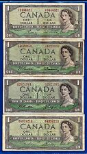 4 CANADA 1954 various signatures Canadian one 1 DOLLAR BILLS NOTES circulated