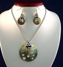 Silver Color Cougar Round Mother of Pearl Pendant Necklace W/ Cougar Earring Set