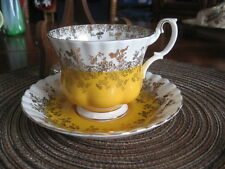 #V11 CUP SAUCER ROYAL ALBERT ENGLAND YELLOW & WHITE TRIM W/GOLD