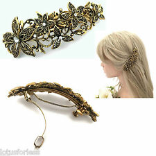 10 cm Vintage Gold Look Flower Design Crystal Barrette French Hair Clip Spring