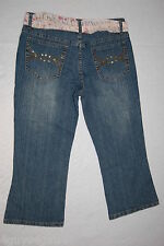 JR Womens BLUE DENIM CAPRI JEANS Pink Floral Belt SEQUIN REAR POCKETS Size 7-8