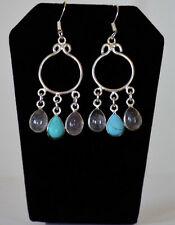 Silver Metal Turquoise Chandelier Hook Earrings Fashion Jewelry Hand made India