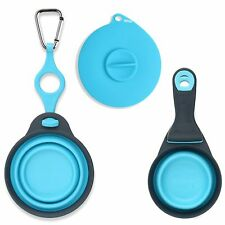 Dexas Popware for Pets Travel Water Cup, Food Scoop & Can Cover 3pc Set - Blue