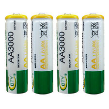 4 pcs AA LR06 3000mAh 1.2V Rechargeable NI-MH battery CELL RC Toy BTY Green