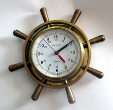 "VINTAGE SOLID BRASS SHIPS WHEEL QUARTZ CLOCK WALL 12"" 7LB USA NAVY BEVELED GLASS"