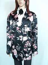 Womens Silky Satin Floral Pattern Formal Black Tailored Blazer Jacket sz 26 AM57