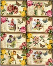 8 POSTCARD FLOWER GIRL - BUTTERFLY VINTAGE 155 lb SCRAPBOOK PAPER CRAFT CARD TAG