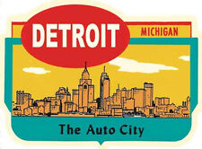 Detroit, Michigan The Auto City Vintage 1950's-Style  Travel Decal-Sticker-Label