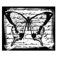 Crafty Individuals BUTTERFLY SCRIPT Unmounted Red Rubber Stamps