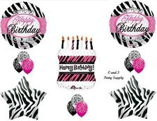 ZEBRA & DAMASK HAPPY BIRTHDAY BALLOONS Decorations Supplies Cake Pink Stripe