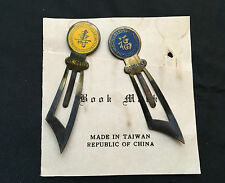 Vintage Metal Chinese Bookmarks with War Sword -GOODLUCK and LONGEVITY - Design