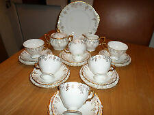 Royal Crown Derby Vine teaset 6 cups saucers milk and sugar cake plate 1930's