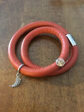 """NEW!  7"""" CORAL 2-STRAND ENDLESS LEATHER DISPLAY BRACELET w/ 2 CHARMS!  SALE!"""