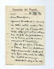 Lettera Autografo Mario Sobrero Opera Violetta di Parma Gazzetta del Popolo 1927