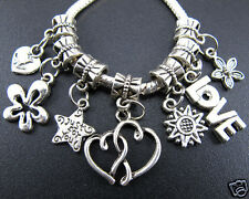 100pcs lots Tibetan Silver Beads Dangle Charms For European Charm Bracelet hot