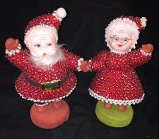 Vintage Sequin Pin Beaded Hand Made Santa And Mrs Claus Doll Figurine