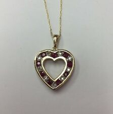 10K YELLOW GOLD 0.24CT RUBY 0.09CT  Diamond Heart PENDANT With Skiny Chain 2.5gr