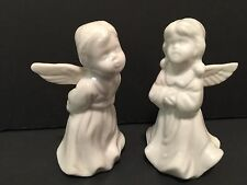 "Porcelain Figurine Angel Children Christmas White 4"" Hollow Unbranded Girl Boy"