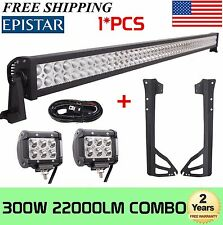 "52"" 300W+2X 4"" 18W LED Light Bar+Wiring Kit+Mount Brackets For Jeep JK Wrangler"