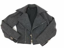 RRP £705 BNWT DSQUARED2 Virgin Wool Grey Women's Biker Jacket ,Size XS ,6-8 UK