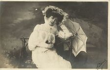 Edwardian young lady with parasol photo postcard 1905