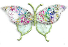 BUTTERFLY CONFETTI LIGHT GREEN IRON ON APPLIQUE