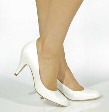 White Pearl Wedding Deb Shoes Mid Heel Leather Pumps Thick Heels Round Toe sz 6