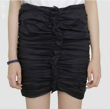ISABEL MARANT Lypsi Ruched Cotton Organdy Mini Skirt in Black Size FR 34