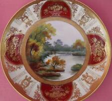NORITAKE HAND PAINTED AND GILDED SCENIC RIVER PLATE