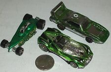 "Diecast 3-pc The Green Unusual Sports Cars USED approx 3"" See Photo"