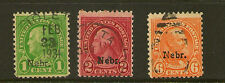 UNITED STATES : 1929 Nebraska overprint 1c,2c,6c # 669,671,675 used